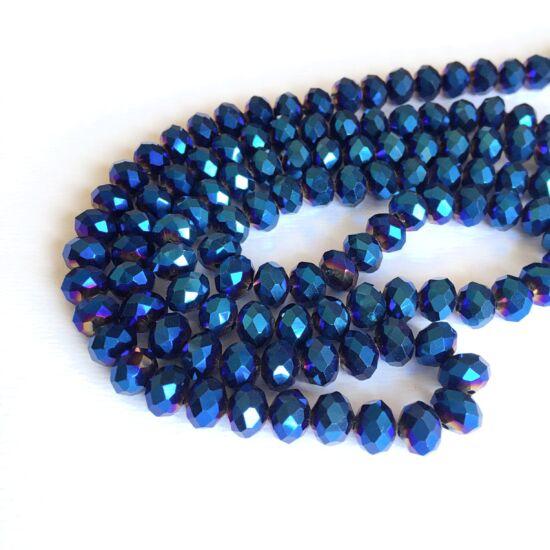 Fánk alakú üveg gyöngy- Metál kék