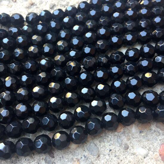 Üveggyöngy - telt - fekete  - csiszolt - gömb