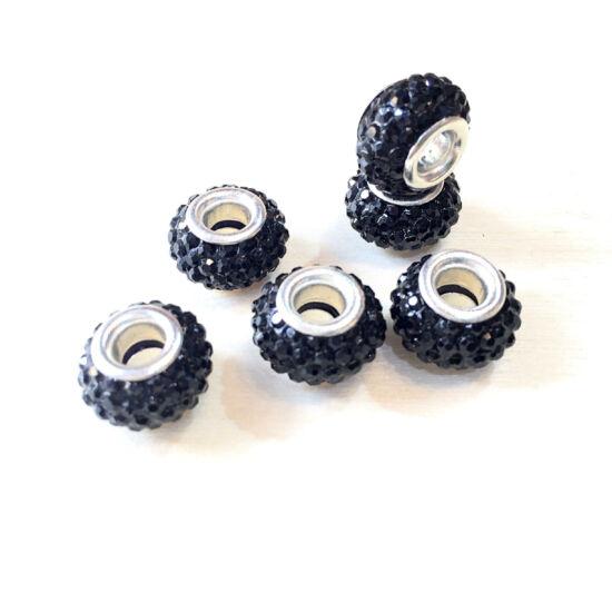 Strasszos pandora gyöngy, Fekete- ezüst színben