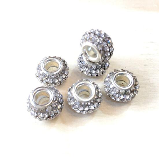 Strasszos pandora gyöngy, Kristály AB- ezüst színben