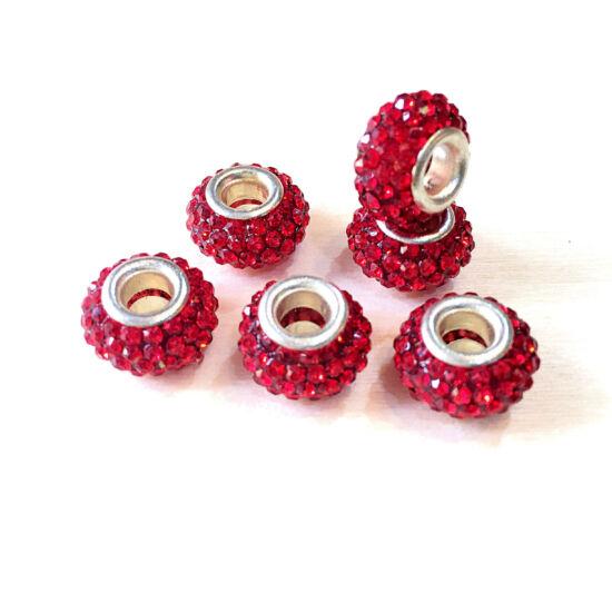 Strasszos pandora gyöngy, Piros- ezüst színben