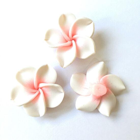 Virág- fimo- fehér-rózsaszín  színben
