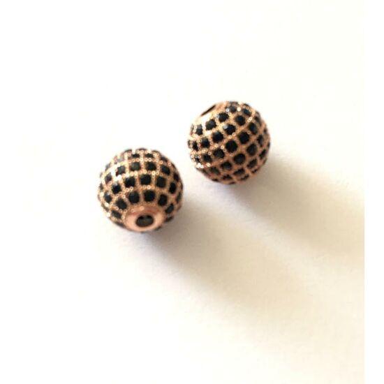 Fekete Cirkón kővel díszített- gömb alakú köztes gyöngy, rózsaarany színű foglalatban