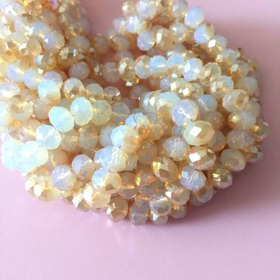Fánk alakú üveg gyöngy- Opál Fehér Fél oldala Arany áttetsző