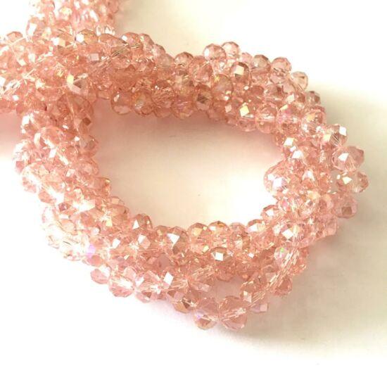 Üveggyöngy - 8x5mm - Áttetsző halvány rózsaszín AB - fánk alakú üveggyöngy