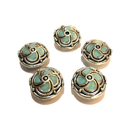 Indonéz gyöngy- Türkiz és antik ezüst színben- lencse alakban