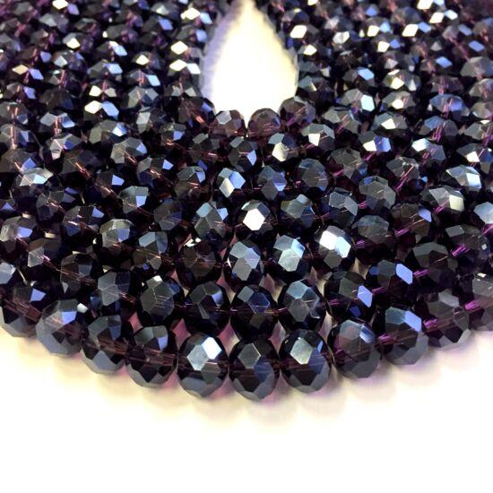 10x7mm Lila-Indigó színű, fánk alakú, csiszolt üveg gyöngy