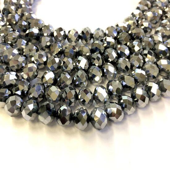 10x7mm Ezüst színű, fánk alakú, csiszolt üveg gyöngy