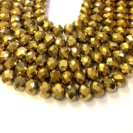 10x7mm Antik arany színű, fánk alakú, csiszolt üveg gyöngy