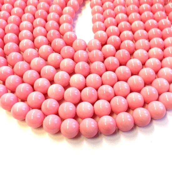 Üveggyöngy- Rózsaszín színben- 10mm