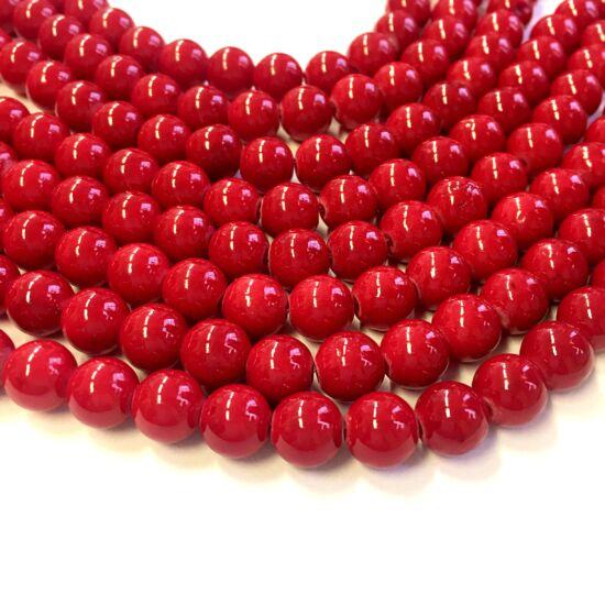 Üveggyöngy- Piros színben- 10mm