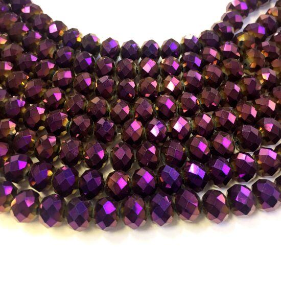 10x7mm Metál lilla színű, fánk alakú, csiszolt üveg gyöngy