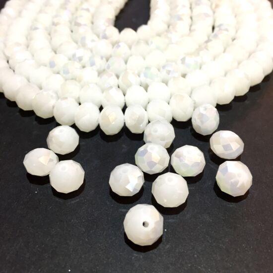 10x7mm Csillógó fehér, fánk alakú, csiszolt üveg gyöngy
