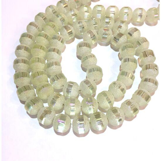 Üveggyöngy- Fagyos kristály AB színben- 8mm