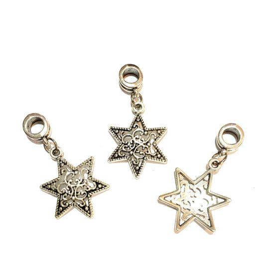 Medál- Csillag alakú- medálvezetővel-antik ezüst színben