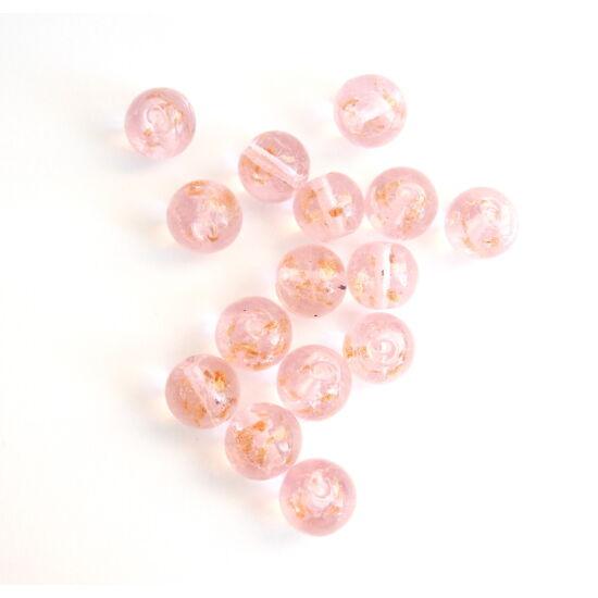 Rózsaszín áttetsző, arany ezüst díszítésű, lámpagyöngy