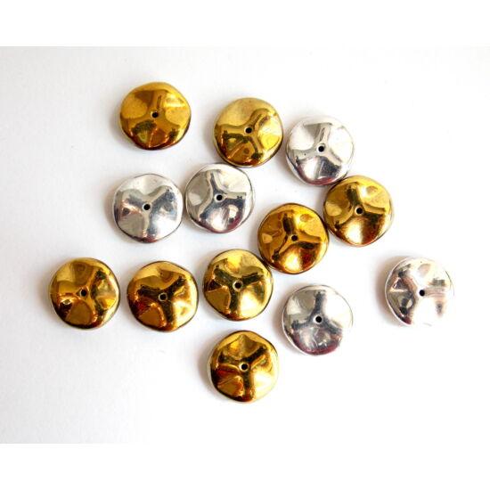 12mm Ezüst- Arany, Ripple gyöngy