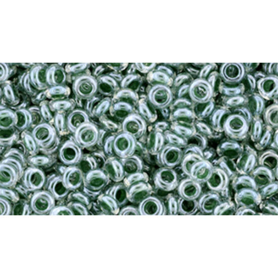 Toho demi round gyöngy - 8/0 - Inside-Color Crystal/Emerald-Lined - 1070