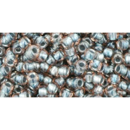 Toho kásagyöngy - 8/0 - Inside-Color Crystal/Metallic Blue-Lined