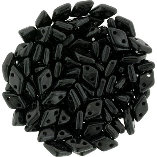 Diamond gyöngy - 2 lyukú - 4x6,5mm - Jet - 23980