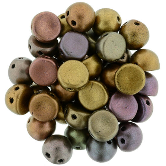 2-LYUKÚ CABOCHON - 7 MM -  Matte - Metallic Bronze Iris - K0164