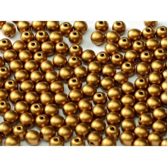 4mm ALABASTER METALLIC BRASS, Cseh Préselt Golyó alakú gyöngy