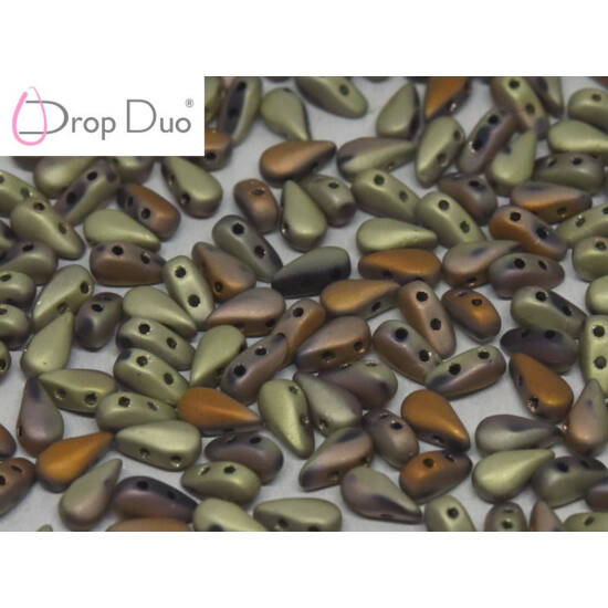 DropDuo - 3 X 6 MM - JET CALIFORNIA GOLD RUSH MATTED - 23980/98572