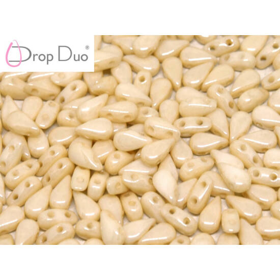 DropDuo - 3 X 6 MM - CHALK WHITE CHAMPAGNE LUSTER - 00030/14413