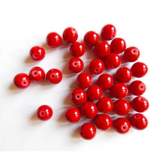Ásványgyöngy - 10mm - Piros Mashan Jáde