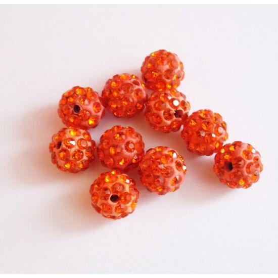 Shamballa gyöngy- Narancs színben- 10mm