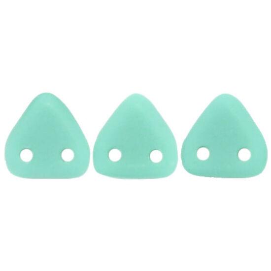 Triangle 6mm: Matte - Opaque Turquoise- kétlyukú gyöngy