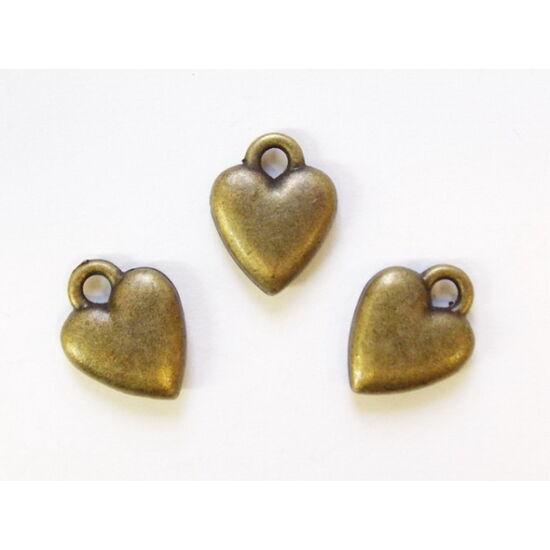 Puffi szív alakú medál, réz színben