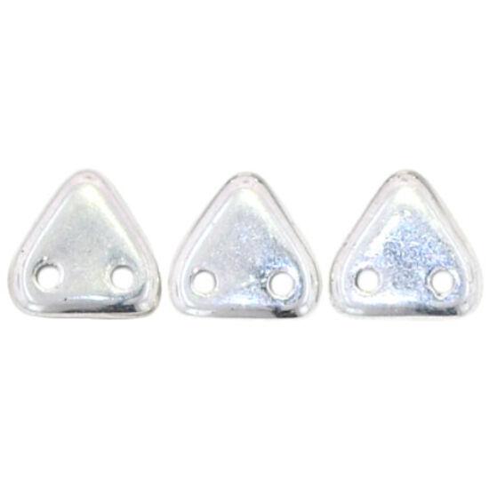 6mm Ezüst, kétlyukú Triangle gyöngy
