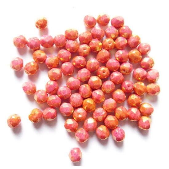 6mm Rózsaszín- Piros Lüsteres, arany fényű csiszolt gyöngy