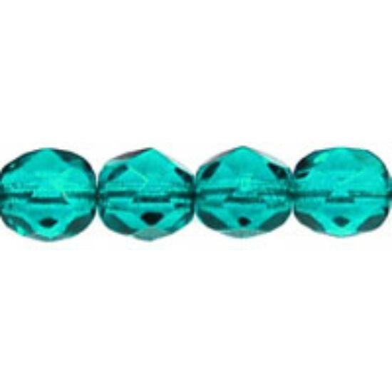6mm Áttetsző Kékeszöld színű, cseh csiszolt gyöngy