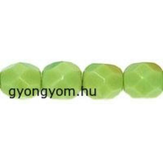 6mm Telt zöld színű, cseh csiszolt gyöngy