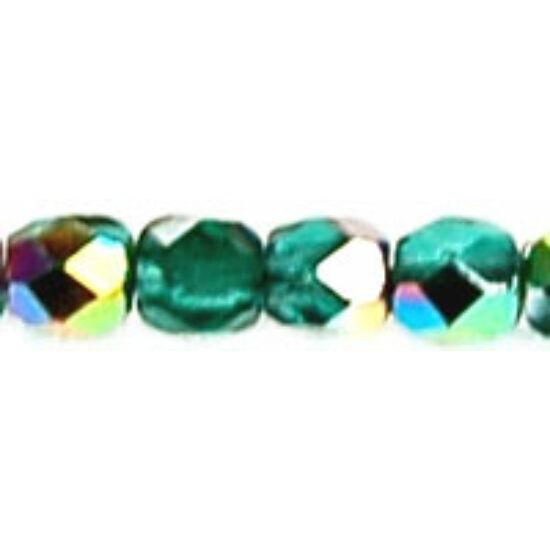 3mm-es Vitrial- Emerald, Cseh csiszolt gyöngy