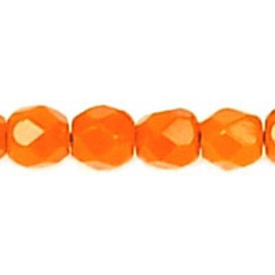 3mm opaque narancs színű, cseh csiszolt gyöngy