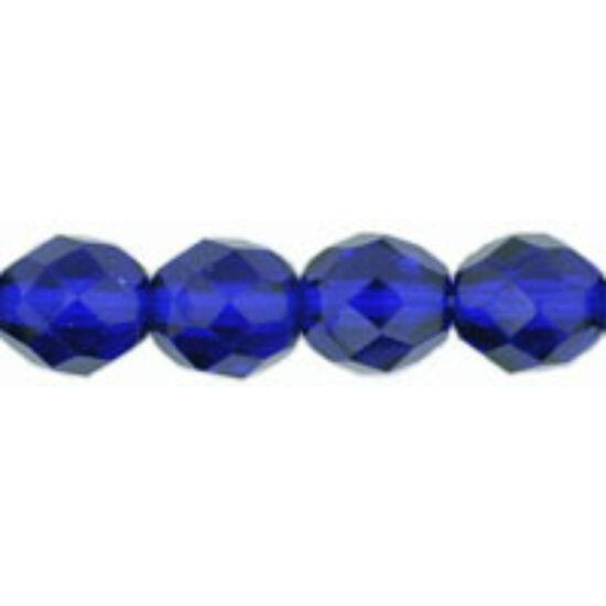 8mm Áttetsző Kobalt színű, cseh csiszolt gyöngy