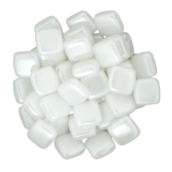 Tile gyöngy, 6x6mm Gyöngyház Fehér