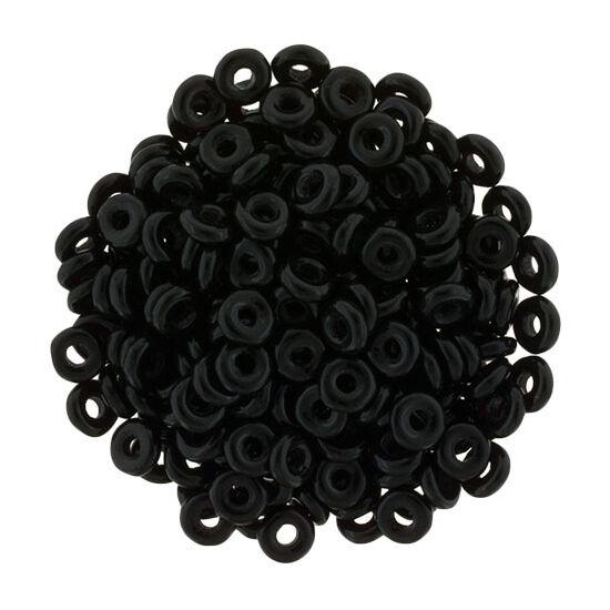 O-gyöngy - Fekete- 2x4mm - 23980
