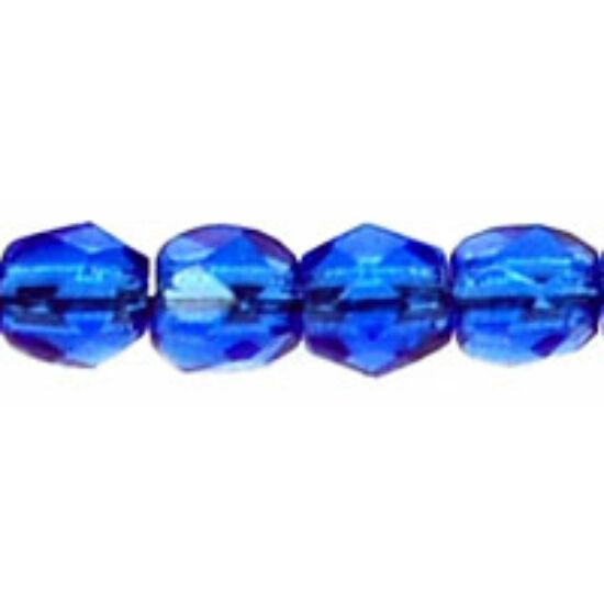 4mm Zafír színű, Cseh csiszolt üveggyöngy