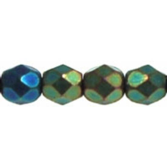 4mm-es Matt Irizáló Zöld, csiszolt gyöngy