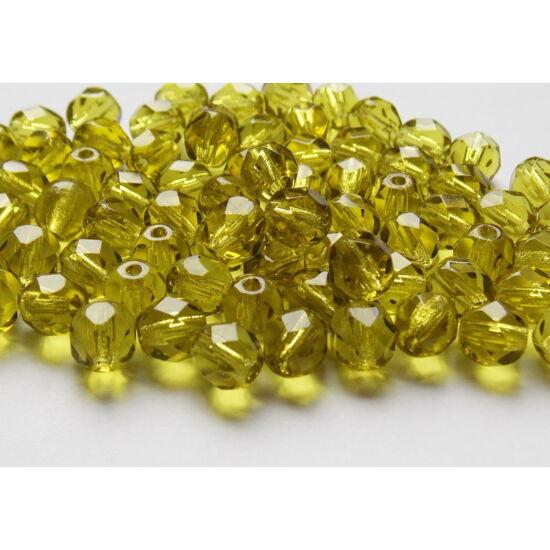 6mm Olivin színű, cseh csiszolt gyöngy