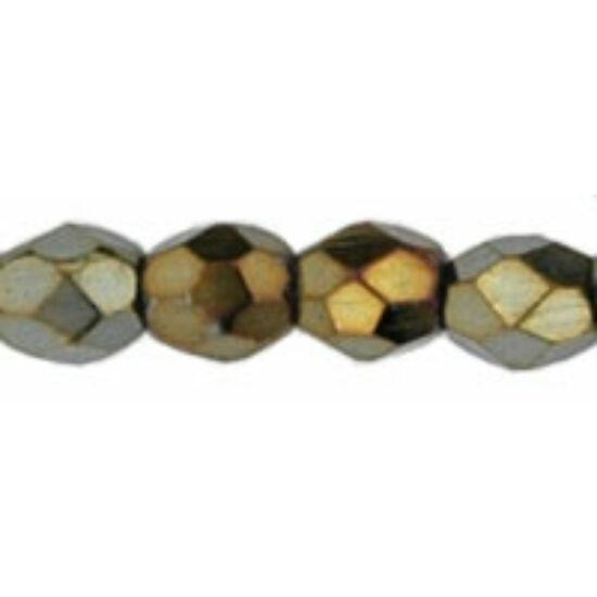 3mm Irizáló Bronz színű, cseh csiszolt gyöngy