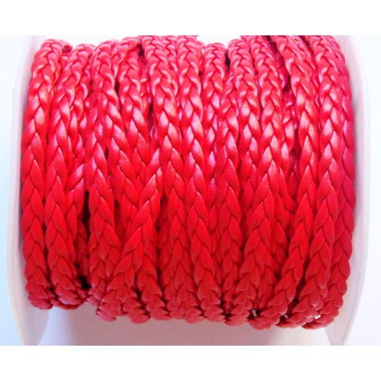 Piros színű, 3-as fonatú bőr imitáció