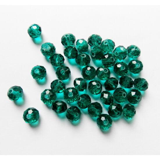 Áttetsző Emerald színű csiszolt, fánk alakú üveg gyöngy