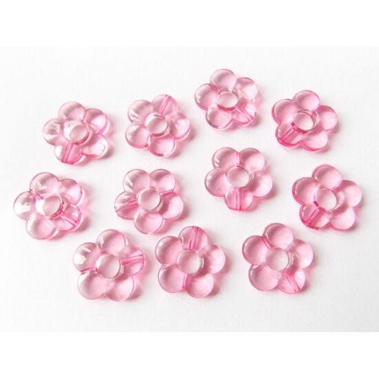 Rózsaszín lapos áttetsző, műanyag virág alakú gyöngy