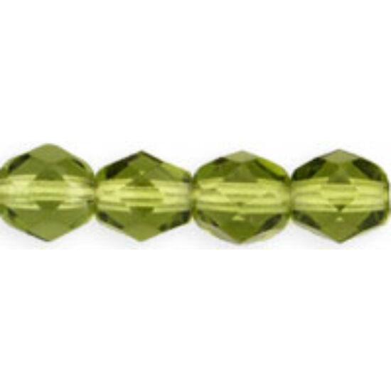 4mm Olivine színű színű, cseh csiszolt gyöngy