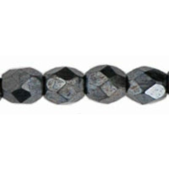 3mm JET HEMATIT, cseh csiszolt gyöngy
